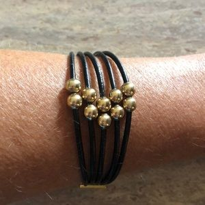 Jewelry - NEW Handmade Leather and Gold Bracelet